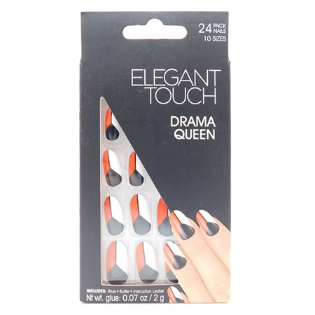 Elegant Touch Drama Queen: 24 Pack Nails 10 Sizes, Glue, Buffer