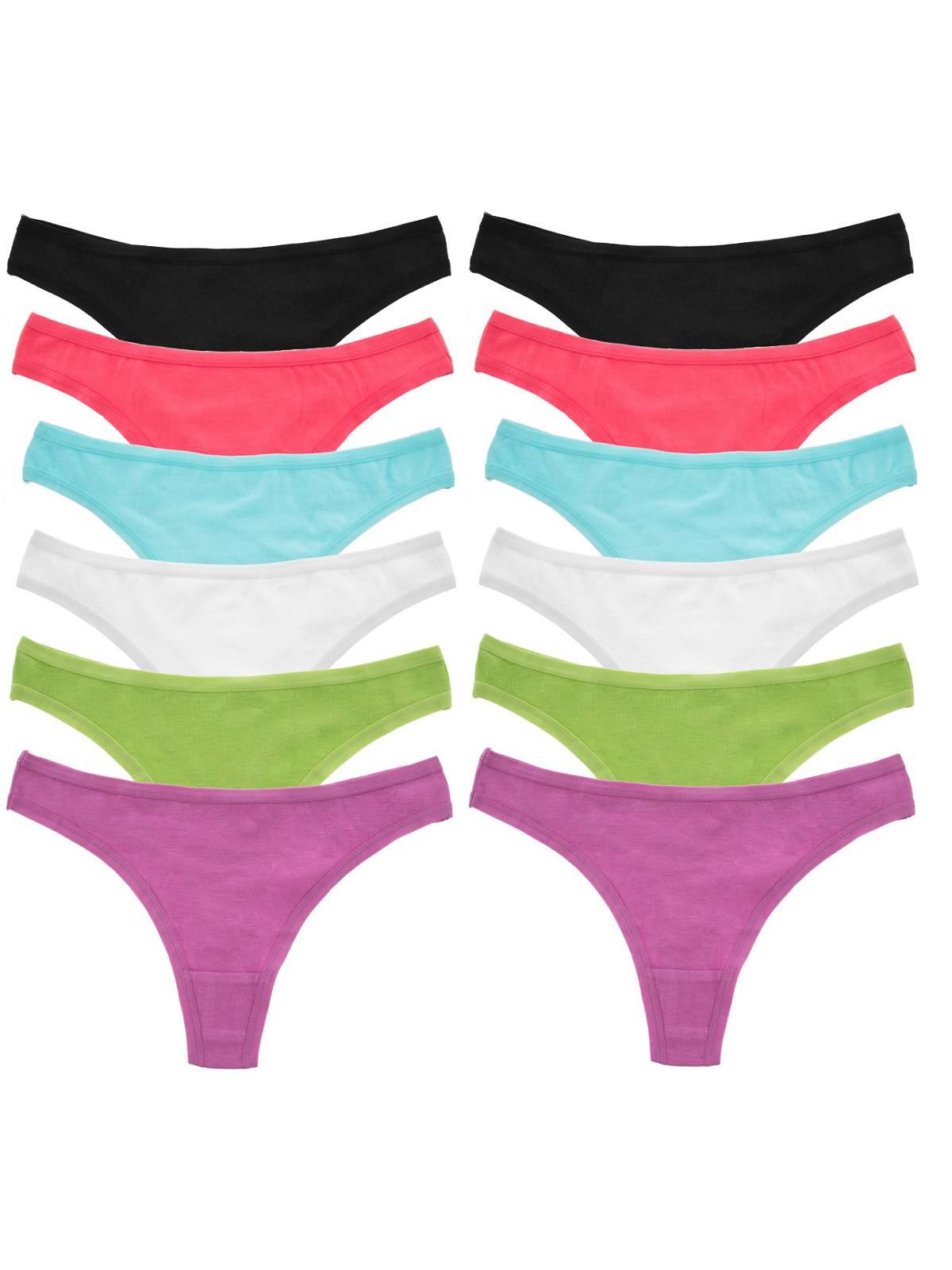 Jo & Bette (12 Pack) Ladies Cotton Underwear Lingerie Thongs Soft Sexy Panties Set For Women Teens by