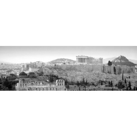 - High Angle View Of Buildings In A City Parthenon Acropolis Athens Greece Canvas Art - Panoramic Images (18 x 6)