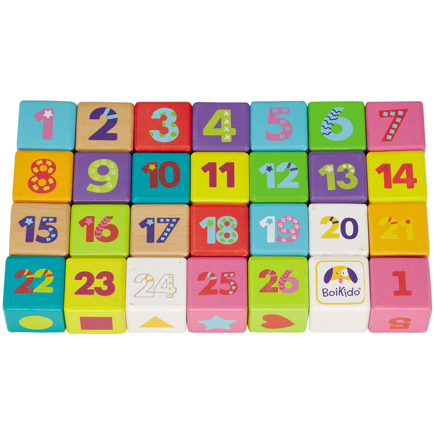Boikido Wooden ABC Cubes, 28 Pieces