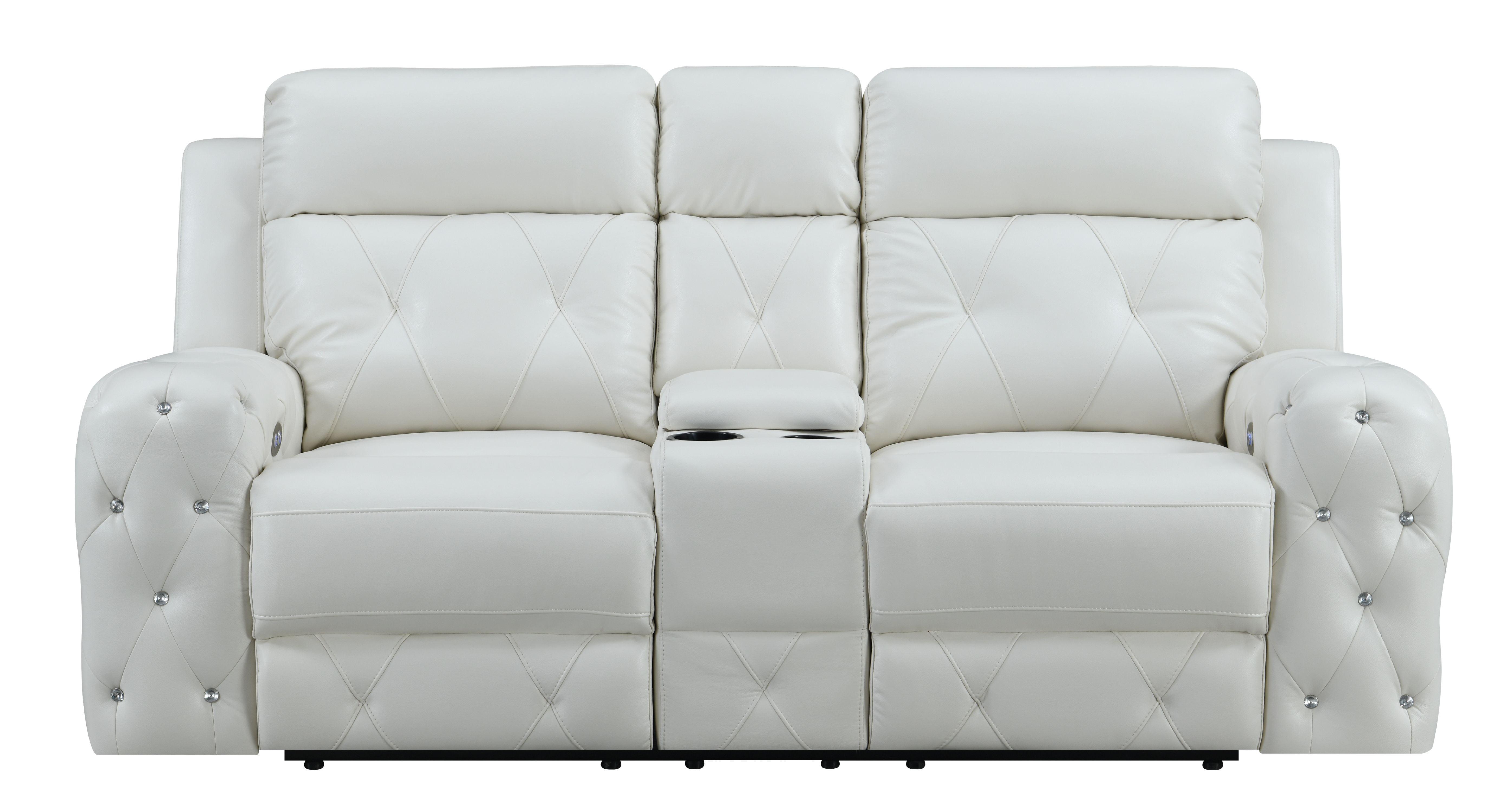 Fantastic Global Furniture Usa Jewel Embellished White Power Console Recline Loveseat Walmart Com Creativecarmelina Interior Chair Design Creativecarmelinacom