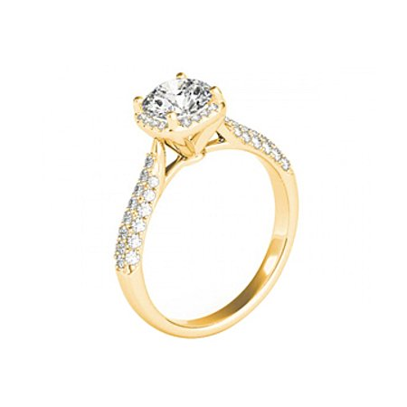 April Birthstone Round Cubic Zirconia 14K Yellow Gold - image 2 of 7