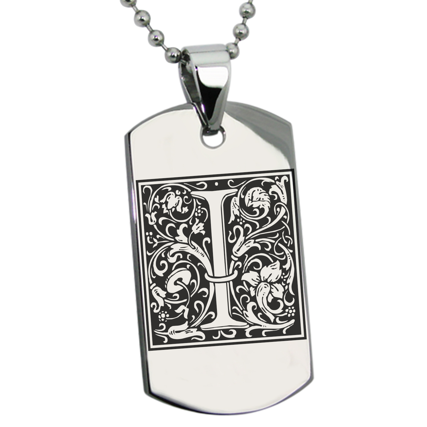 Stainless Steel Letter I Initial Floral Monogram Engraved Dog Tag Pendant