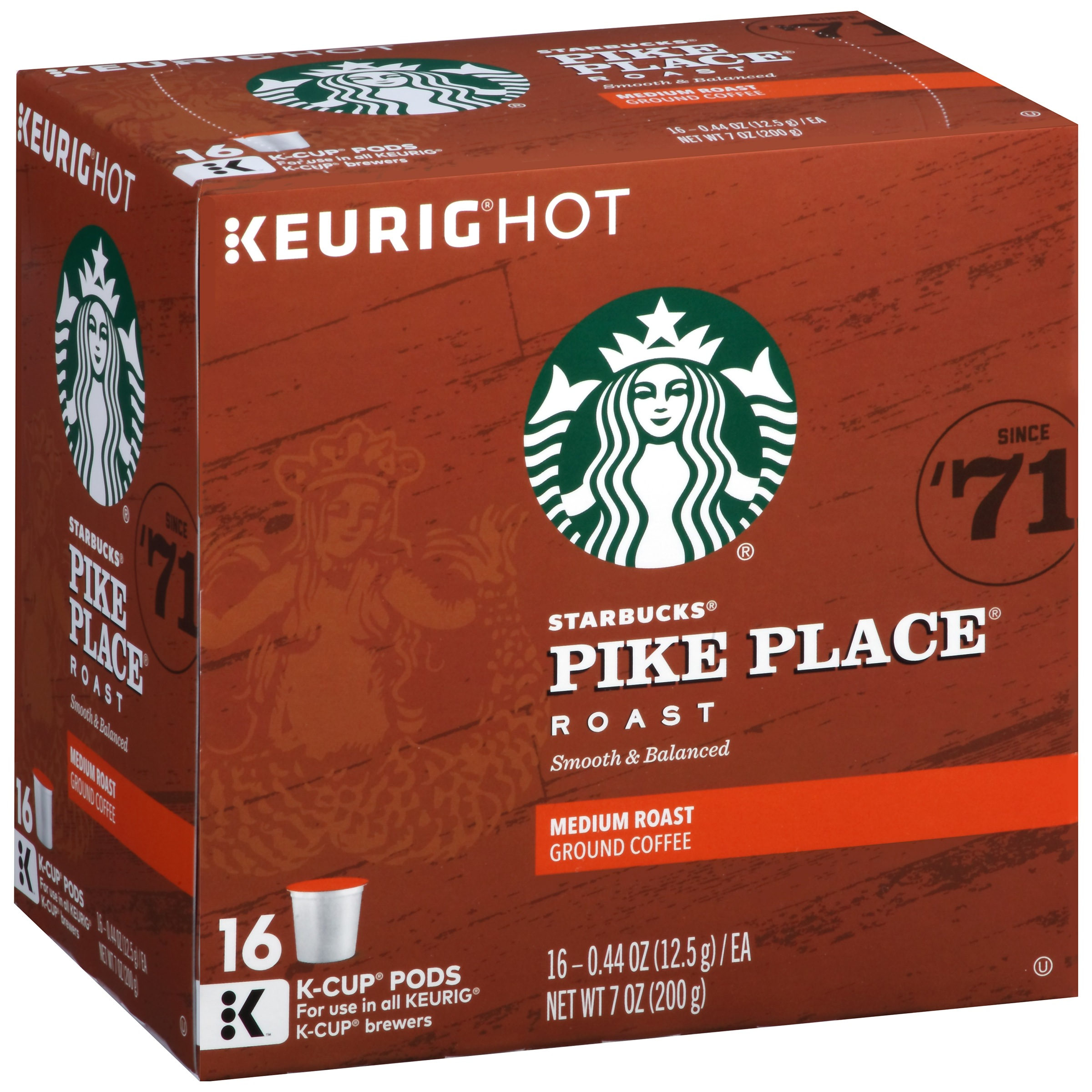 Starbucks Pike Place Medium Roast Coffee, 16 Ct K-Cups