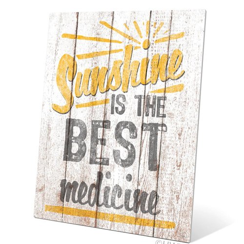 Click Wall Art Sunshine Is The Best Medicine Textual Art Plaque