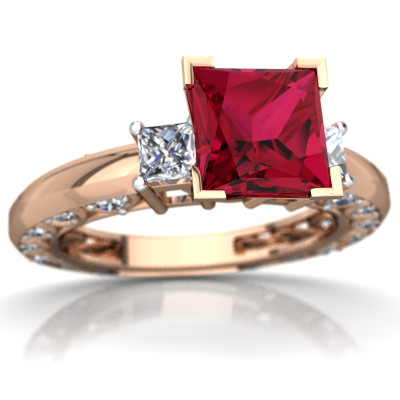 Lab Ruby Art Deco Ring in 14K Rose Gold by