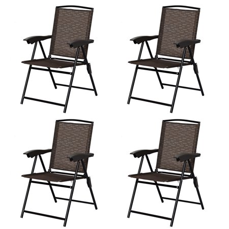 Costway 4PCS Folding Sling Chairs Steel Armrest Patio Garden Camping W/Adjustable Back (Arm Folding Chair)
