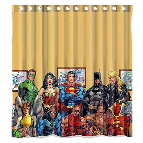 DEYOU Justice League Batman Superman Wonder Woman Shower Curtain Polyester Fabric Bathroom Size 66x72 Inches