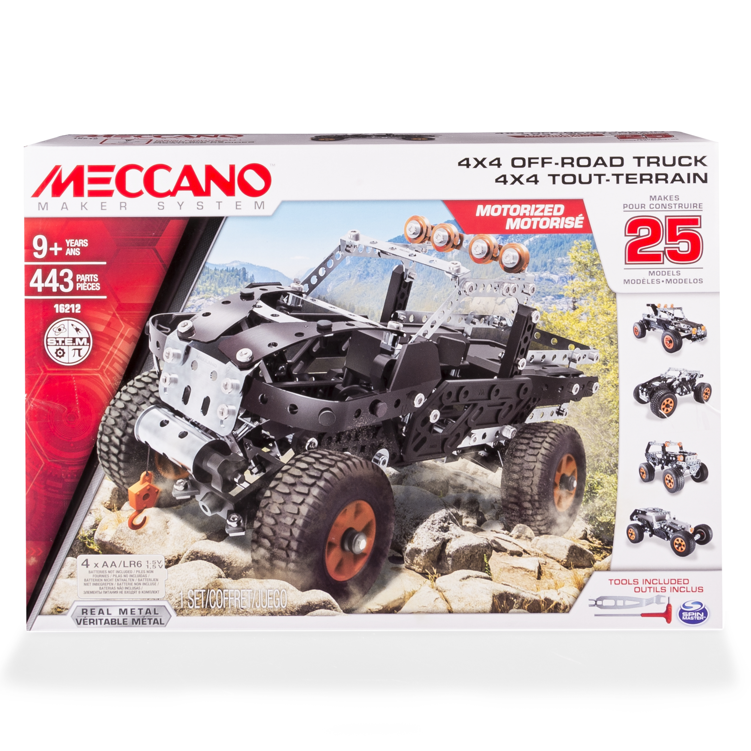 Erector by Meccano, 4x4 Off-Road Truck 25 Model Building Set, 443 Pieces, For Ages 9 and up, STEM Contruction Education Toy