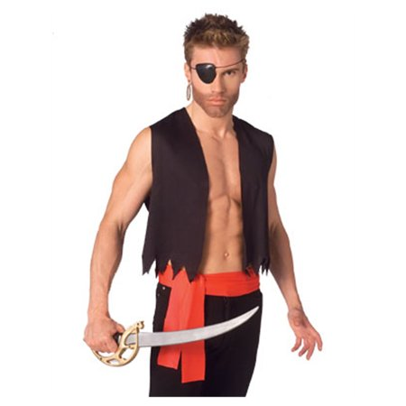 Mens  Pirate Costume with Vest Sash and Eye Patch
