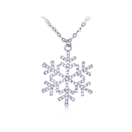 Ice Crystal Clear Rhinestone Christmas Winter Snowflake Holiday Pendant Necklace Beautiful Austrian Crystal Rhinestone Necklace