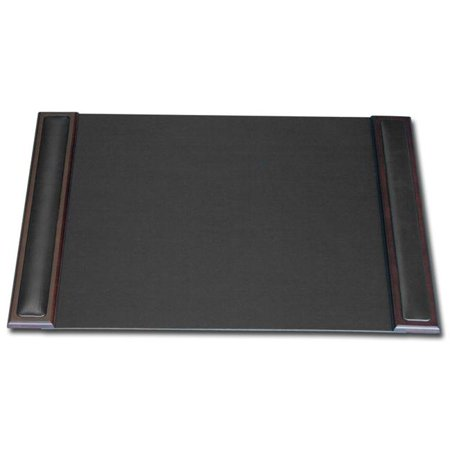 Wood & Leather 25x17 Desk Pad with Side Rails