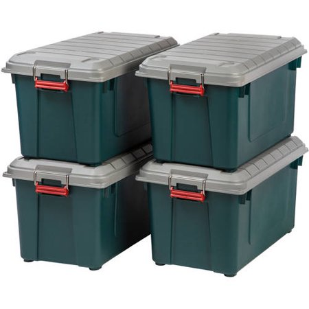 IRIS 4pk 82qt Heavy Duty Plastic Storage Bin Green