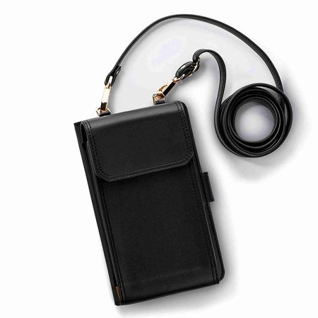 Dteck Women Wallet Purse Bag Leather Coin Cell Phone Mini Cross-body Shoulder Bag Case Cover Under 5.5 inch,,black