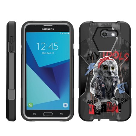 Pro Squirrel (TurtleArmor ® | For Samsung Galaxy J7 | J7 V | J7 Perx | J7 Sky Pro | J7 Prime | Halo [Dynamic Shell] Dual Layer Hybrid Silicone Hard Shell Kickstand Case - Street Owl)