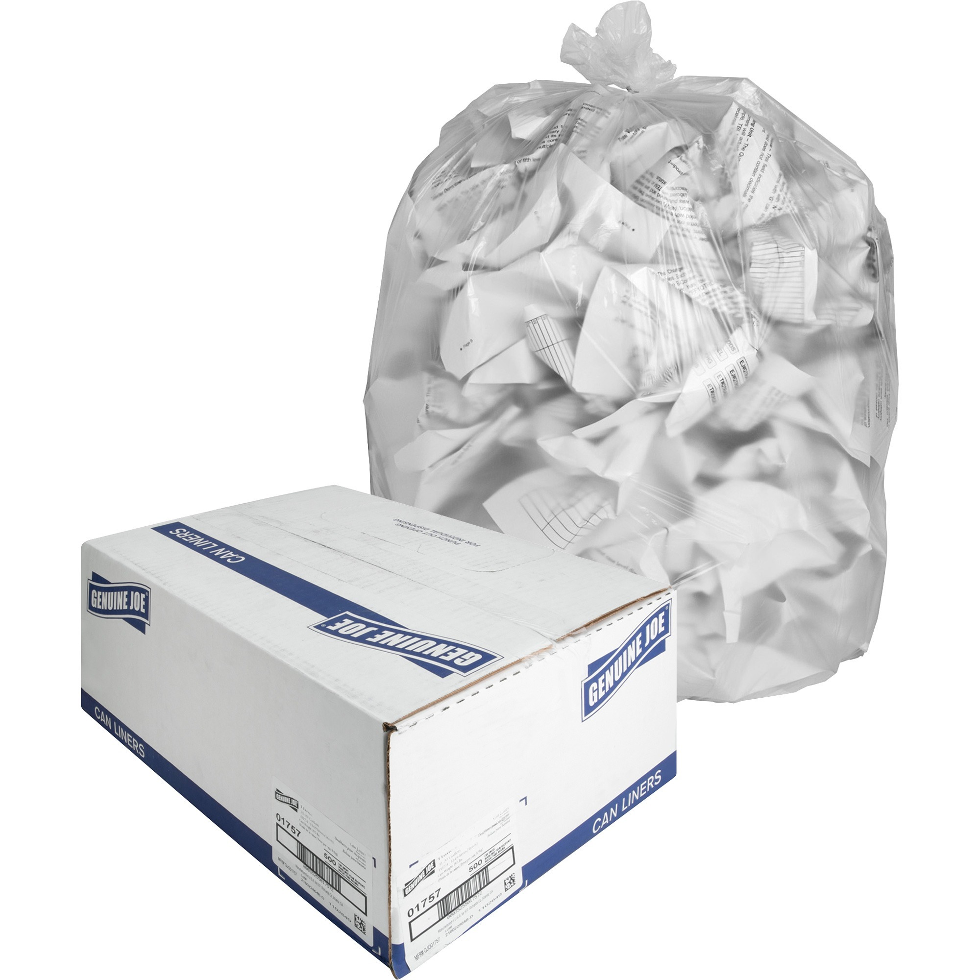 Genuine Joe, GJO01757, High-density Can Liners, 500 / Carton, Clear, 33 gal