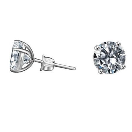 Diamond Veneer 14k Simulated Stud Post Earrings White Gold