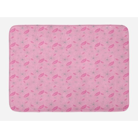 Floral Bath Mat, Artistic Design Flower Motifs and Petals Pattern Natural Pink Garden, Non-Slip Plush Mat Bathroom Kitchen Laundry Room Decor, 29.5 X 17.5 Inches, Pale Pink Baby Pink Grey, Ambesonne
