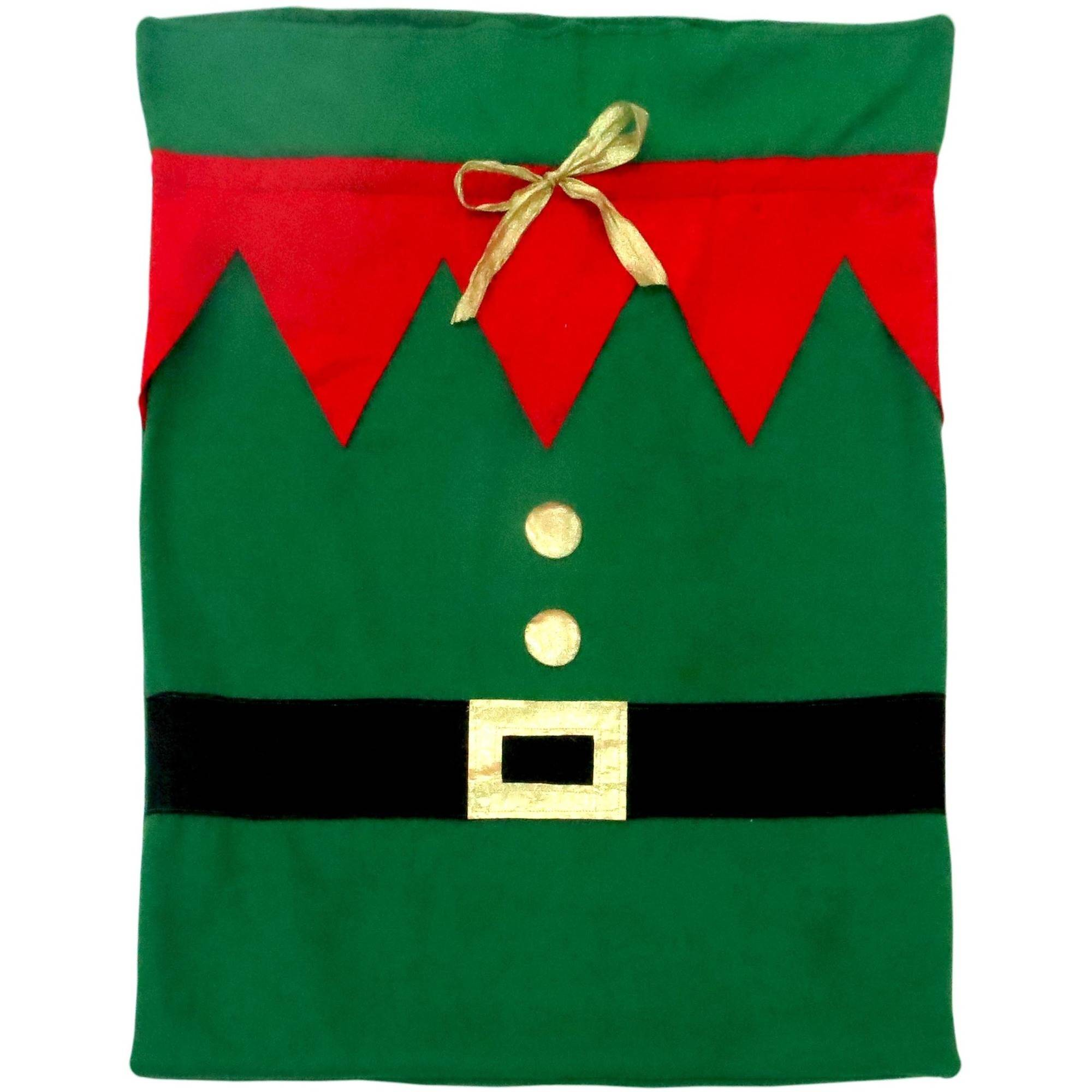"Holiday Time 36"" by 28"" Christmas Festive Fabric Gift Bag - Green Elf"
