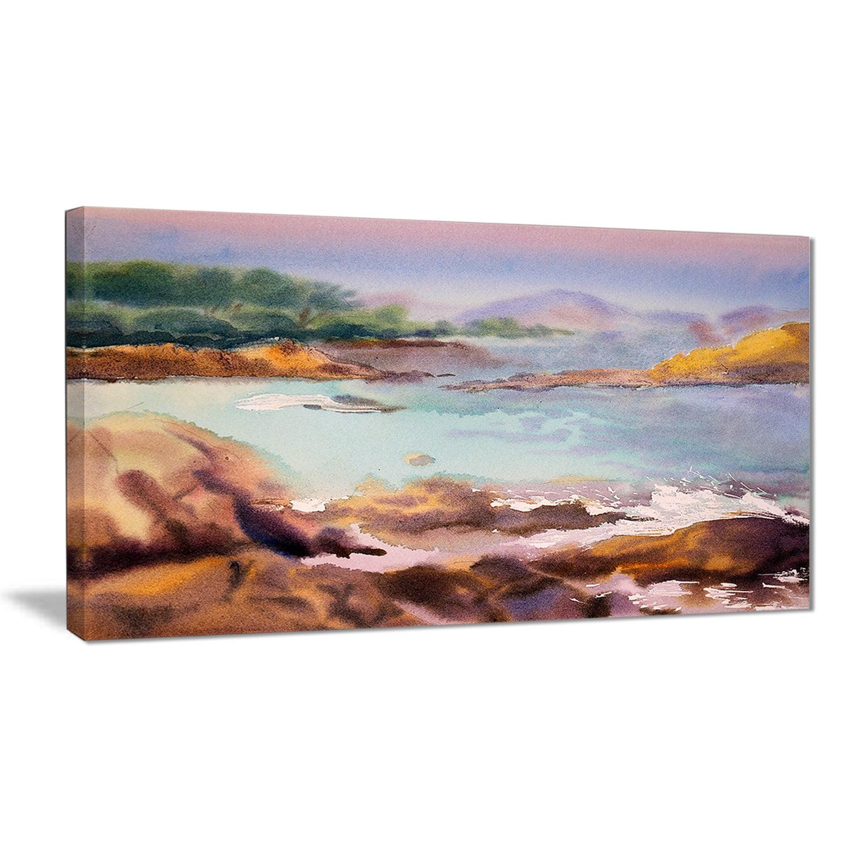 Design Art Designart Tranquil Watercolor Waters Seascape Painting Canvas Print Walmart Com Walmart Com