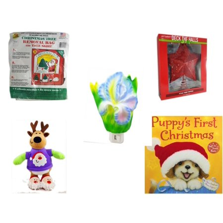 Christmas Fun Gift Bundle [5 Piece] -  Tree Removal Bag And Tree Skirt - Deck The Halls Red Star Tree Topper 11.5