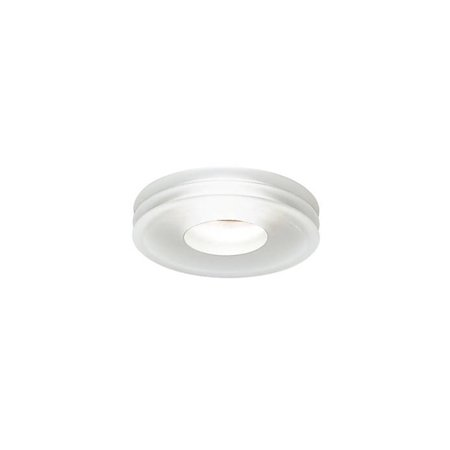 Leucos Recessed Low Voltage Light Disk Trim with Housing Frosted Glass MR16 Satin White (Mr16 Trim)