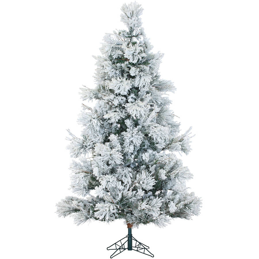 Fraser Hill Farm Pre-Lit 7.5' Snowy Pine Flocked Artificial Christmas Tree with Multi-Color LED String Lighting