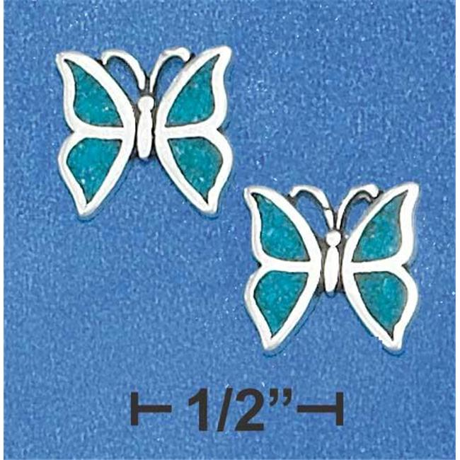 Sterling Silver Mini Turquoise Chip Butterfly Earrings On Posts