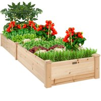 Best Choice Products 8x2ft Outdoor Raised Wooden Garden Bed Planter for Grass, Lawn, Yard - Natural