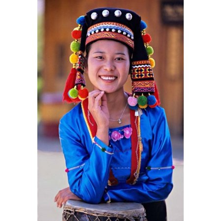 China Yunnan Young Deang woman portrait with drum Poster Print by Charles - Chinese Drum