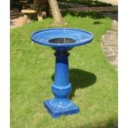 Smart Garden Athena Glazed Blue Ceramic Birdbath Fountain With Solar with Battery Backup