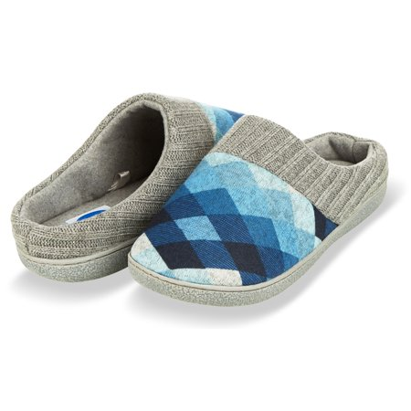 Floopi House Slippers for Women| Argyle Knit/ Terry Lined & Ribbed Hand-Knit Collar Clog | Hard Rubber sole for Indoor/Outdoor Use| All-Season Bedroom Slip-on W/ Memory Foam Insole (S, Blue-314) - Dorothy Ruby Slippers For Kids