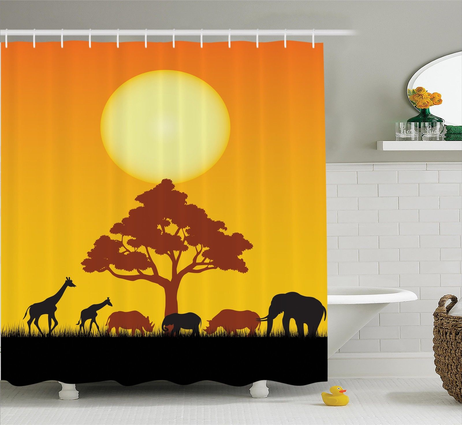 Safari Decor  Silhouette Of Rhinos Elephants Zebras Grass...