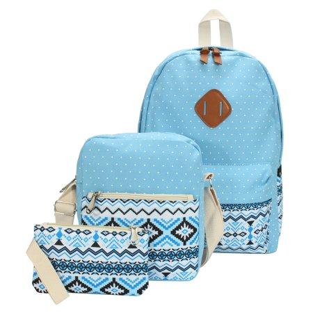 NEW 3Pcs Women Canvas Rucksack Tote Shoulder Bag Clutch Bag Travel Backpack