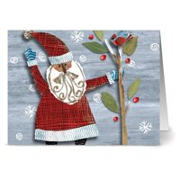 24 Holiday Cards - Father Christmas - Blank Cards - Red Envelopes Included