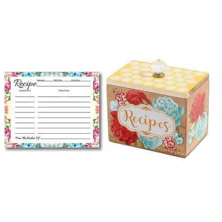 Pioneer Woman Recipe Box Gift Bundle, 50 Blank Recipe Cards, Recipe Cards Storage Box Organizer, Wooden Recipe Box, Unique Ideas, Kitchen Vintage Recipe Holder, Floral Recipe Cards ()