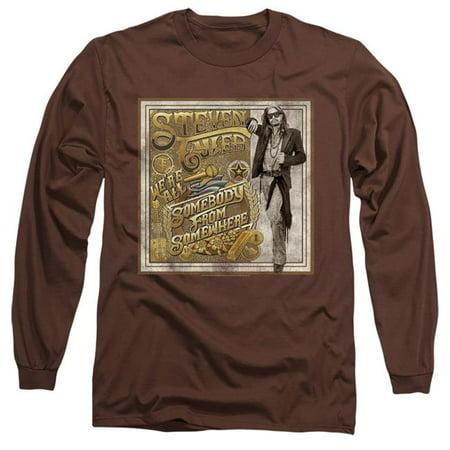 Steven Tyler Shirt (Trevco Sportswear BAND401-AL-1 Steven Tyler & Somebody From Somewhere-Long Sleeve Adult 18-1 T-Shirt, Coffee -)
