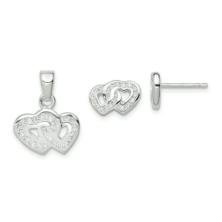 925 Sterling Silver Double Heart Shaped Cubic Zirconia Pendant and Earring Set - image 4 of 4