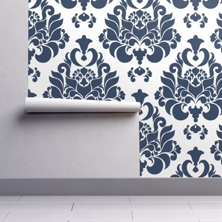 Floral Scroll Damask Wallpaper (Wallpaper Roll Victorian Damask Navy Indigo White Floral 24in x 27ft)