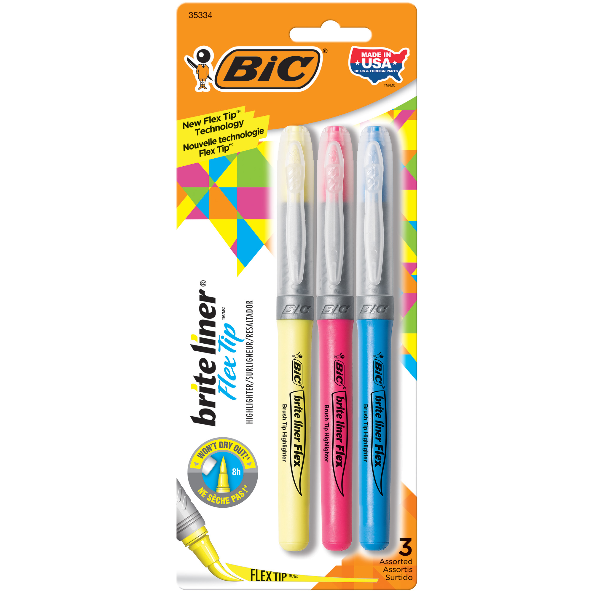 BIC Brite Liner Flex Tip Highlighter, Assorted Colors, 3 Count