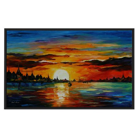 Winston Porter 'Sunrise In the Harbor' Framed Oil Painting Print on Wrapped (Sunrise Oil Painting)