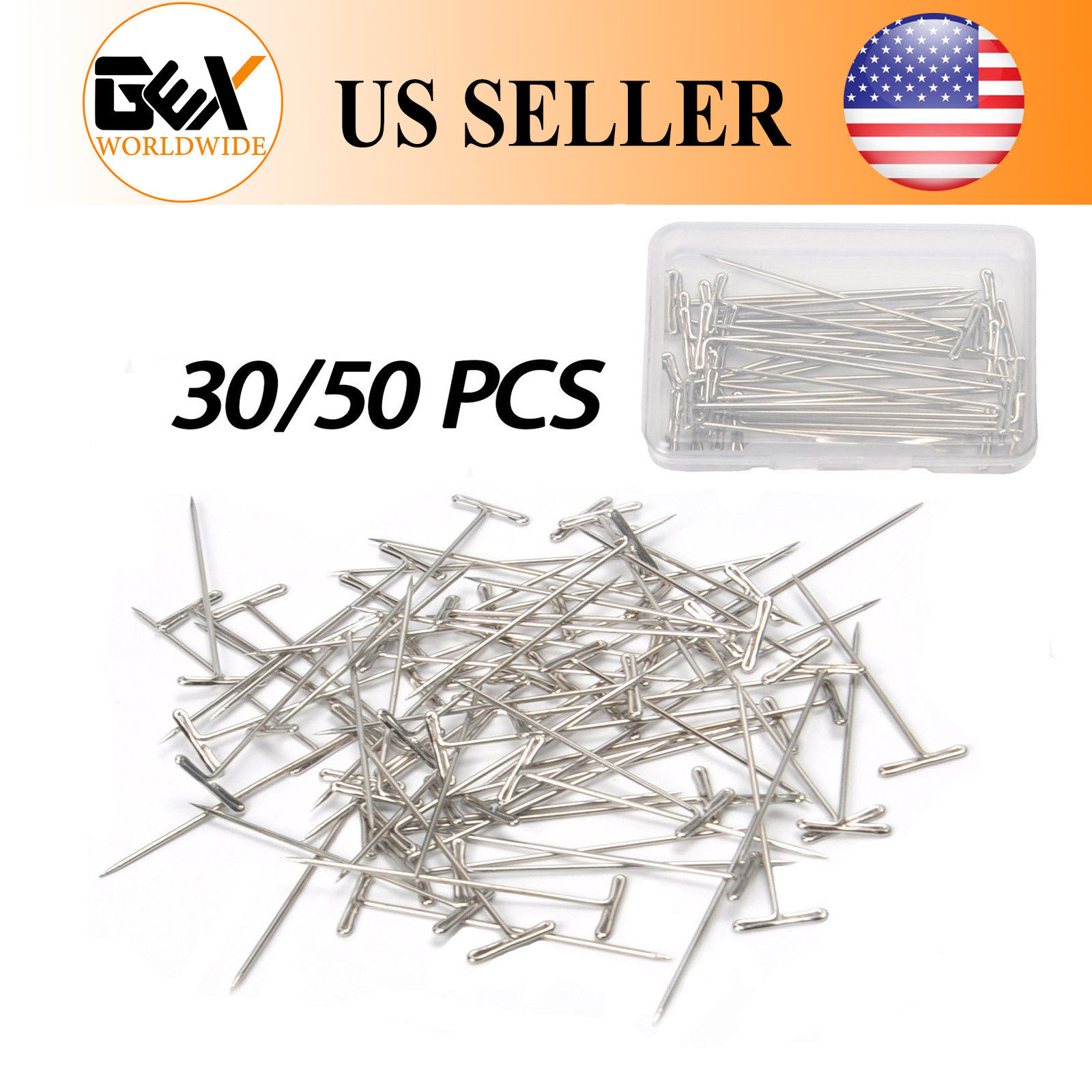 "GEX T-Pins 2"" Straight Needles Set Knitting Sewing Craft Macrame Wigs 150PCS"