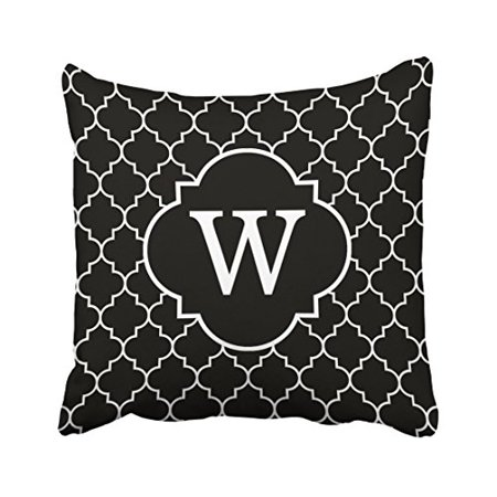 Monogrammed Throw Pillows (WinHome Cute Retro Black And White Quatrefoil Monogram Polyester 18 x 18 Inch Square Throw Pillow Covers With Hidden Zipper Home Sofa Cushion Decorative Pillowcases)
