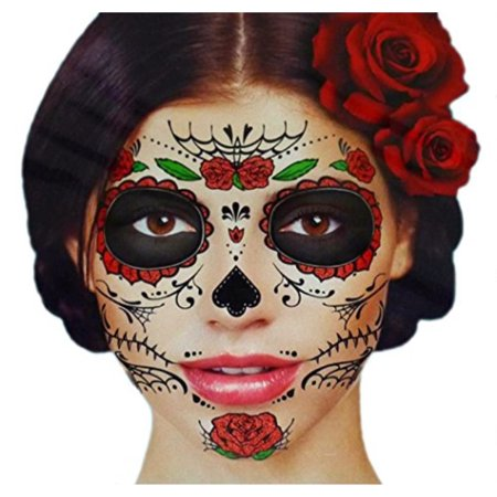 Beauty And The Beast Rose Tattoo (Glitter Red Roses Day of the Dead Sugar Skull Temporary Face Tattoo Kit - Pack of 2)