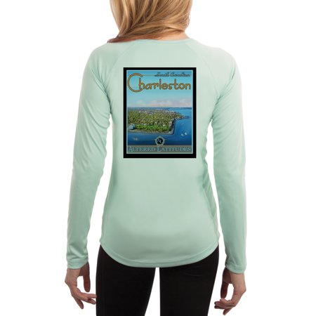Seagrass Apparel - Vintage Destination Charleston Women's UPF 50+ UV Sun Protection Long Sleeve T-shirt Large Seagrass