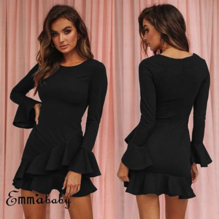 Trumpet Long Sleeve Black Dress Sexy Lady Walmart