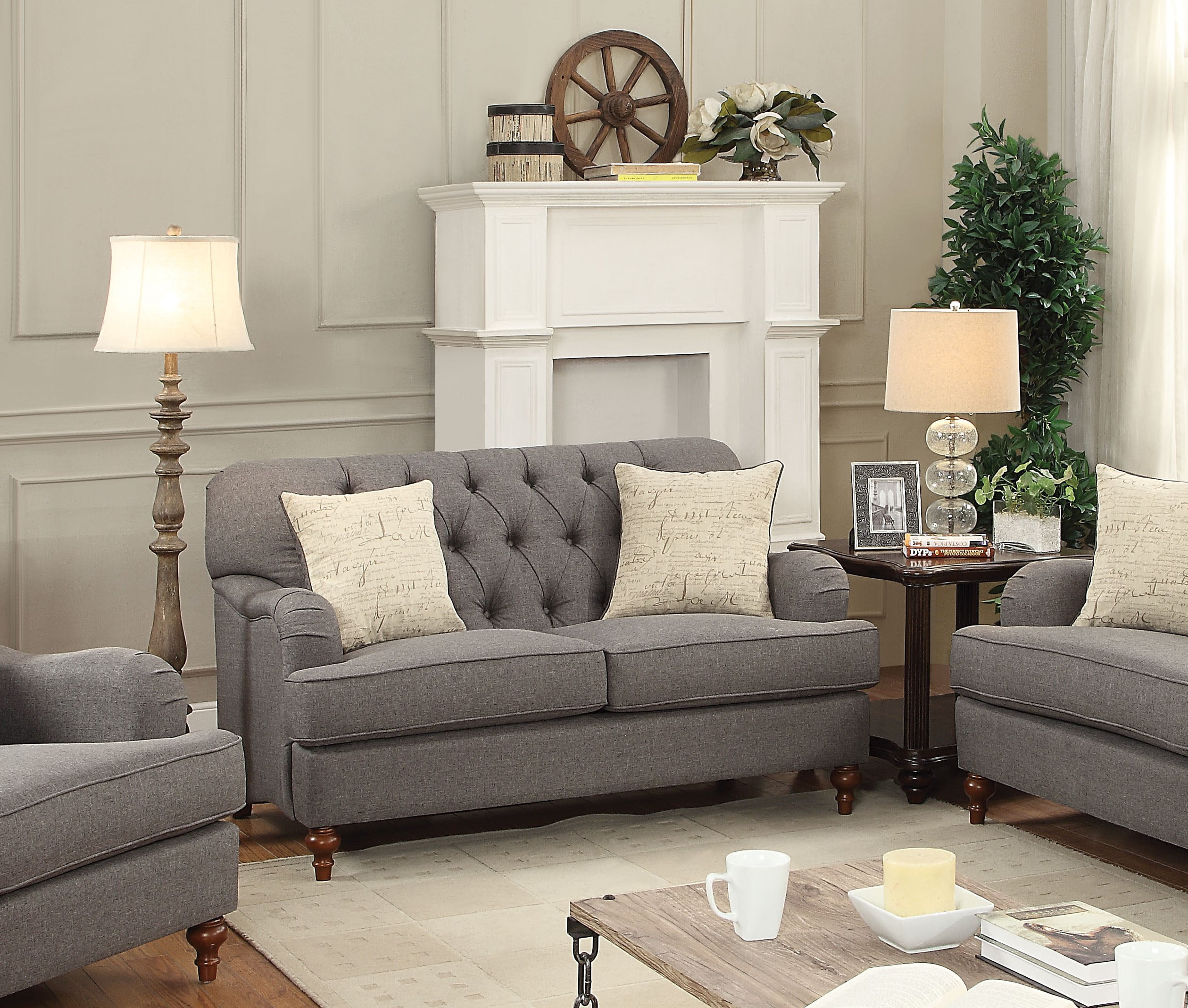 ACME Alianza Loveseat with 2 Pillows in Multiple Colors by Acme Furniture