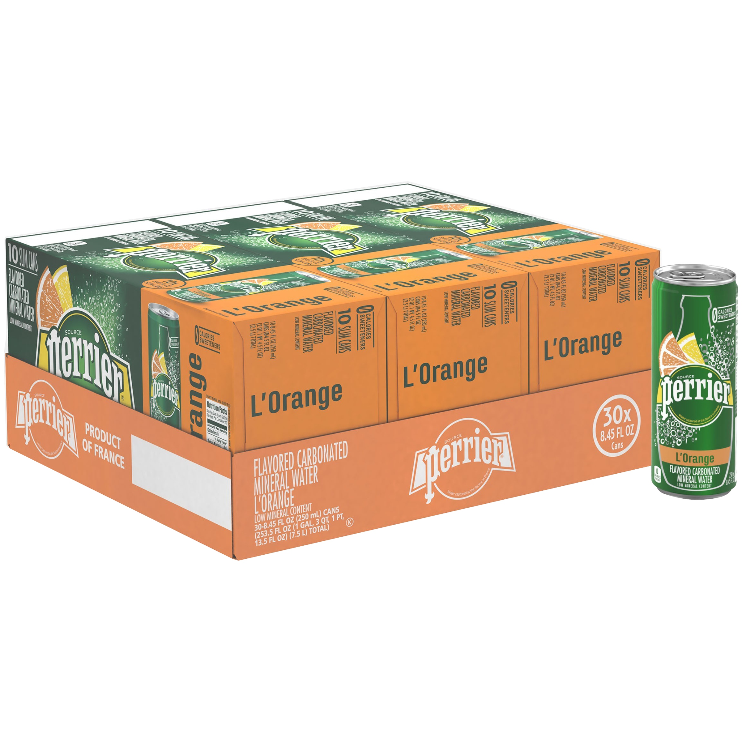 (30 Cans) PERRIER L'Orange Flavored Carbonated Mineral Water, 8.45 Fl Oz