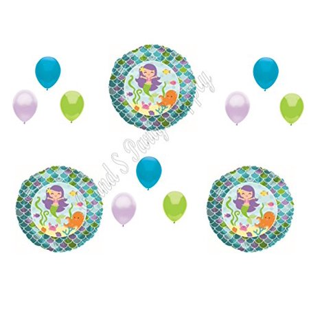 12 pc MERMAIDS Happy Birthday Balloons Decoration Supplies Ocean Luau Sea - Beach Theme Birthday Decorations