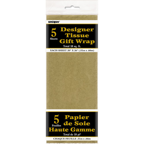Metallic Gold Tissue Paper Sheets, 5pk